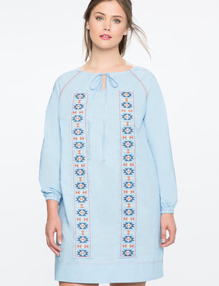 Embroidered Tie Front Shift Dress