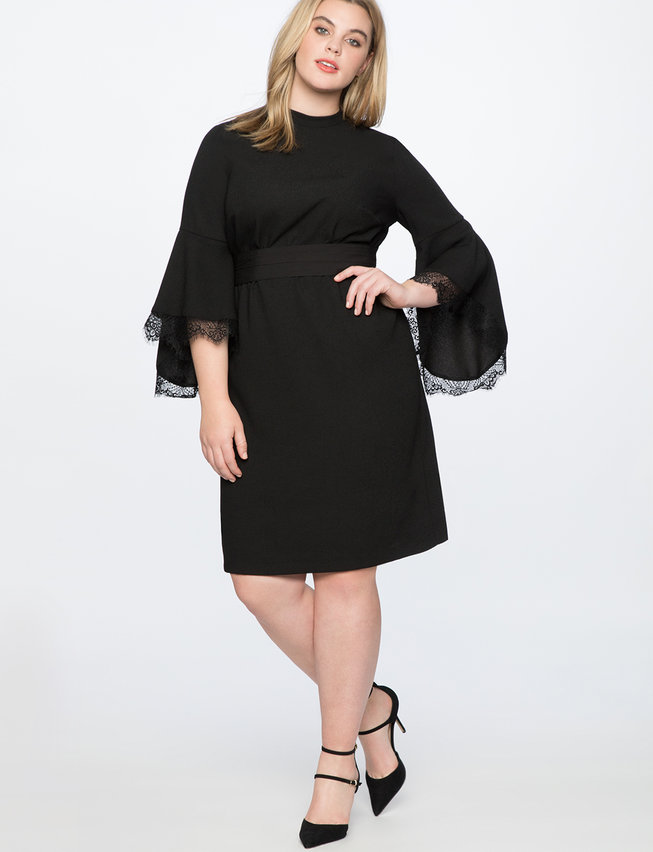 Lace Detail Flounce Sleeve Dress