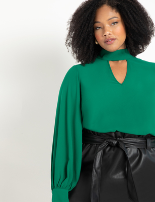 Dramatic Sleeve Blouse with Cutout