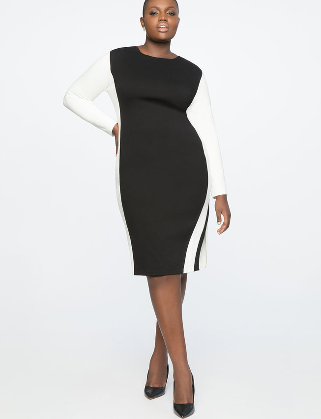 Colorblock Shift Dress with Slit