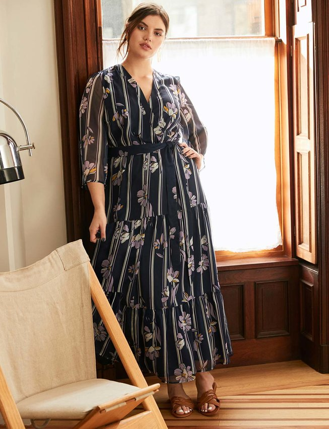 Maxi Wrap Dress with Flare Sleeves