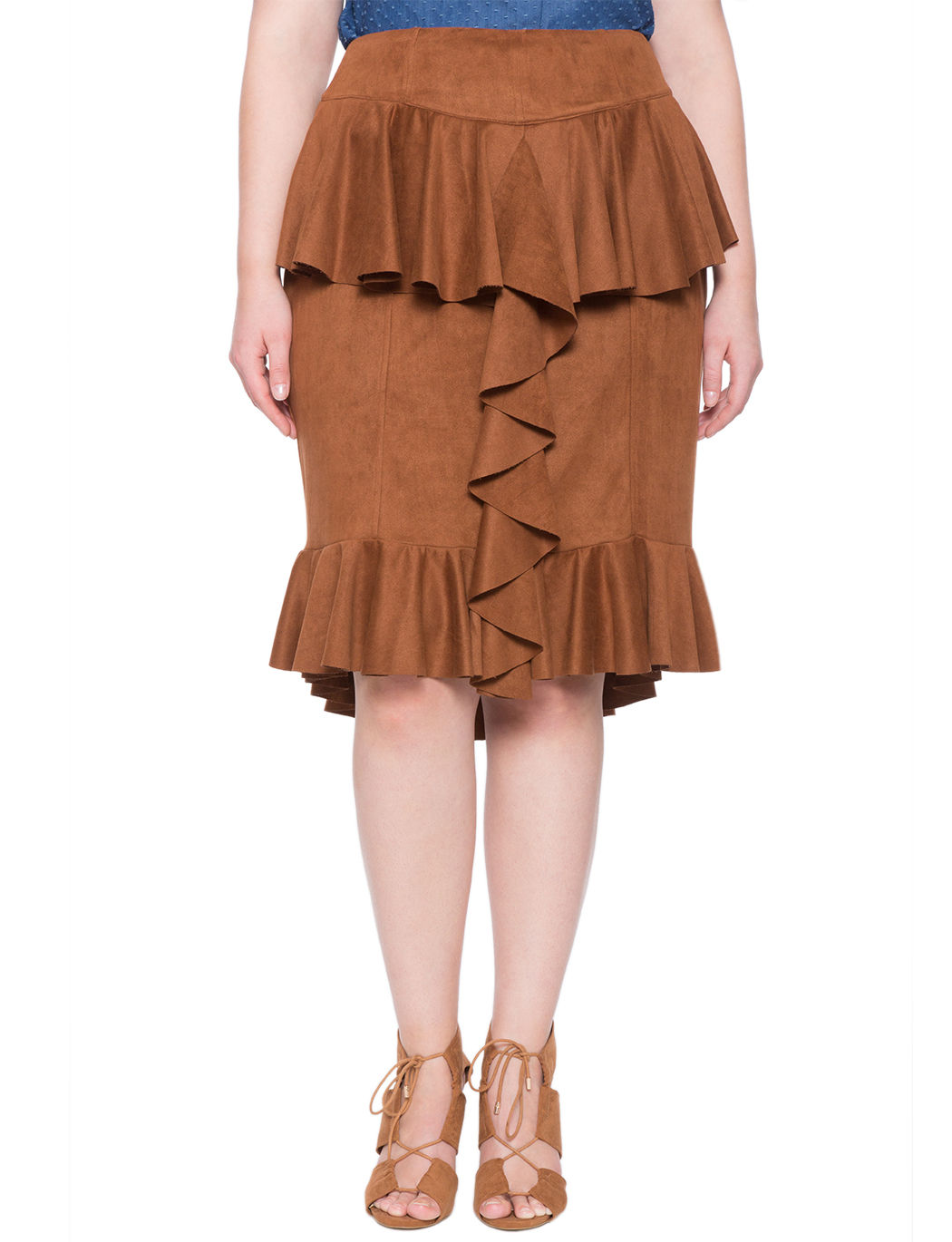 Studio Faux Suede Ruffled Skirt