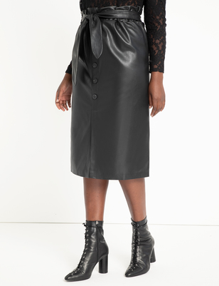 Button Front Faux Leather Skirt