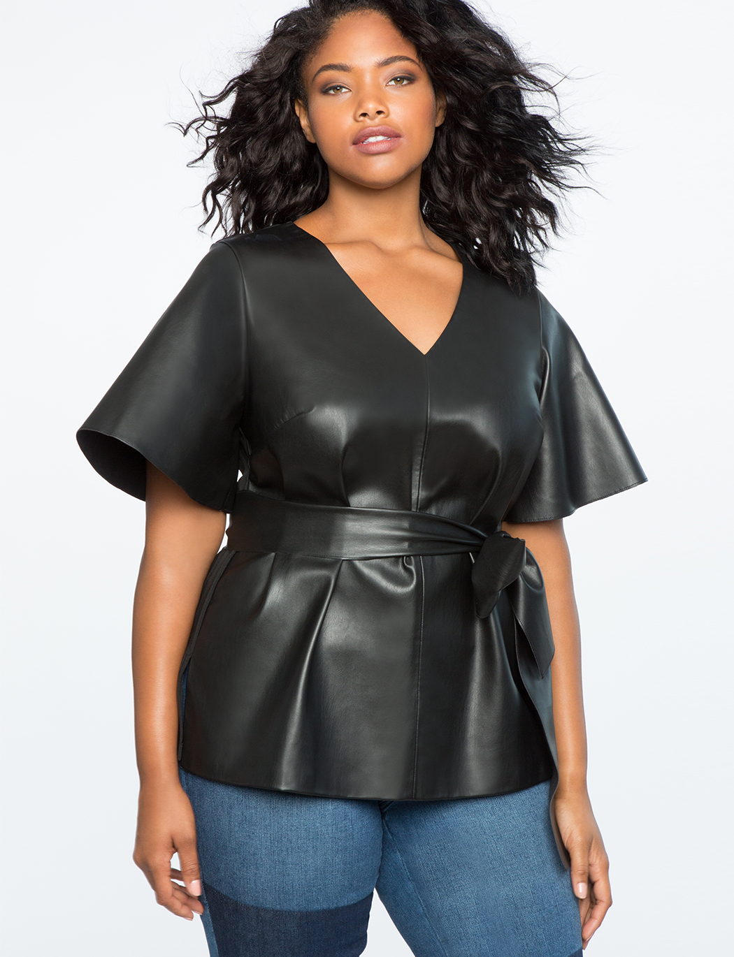 Flare Sleeve Tie Waist Faux Leather Top