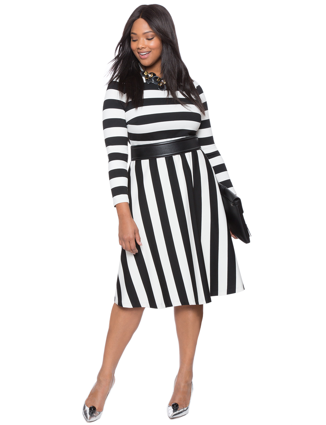 Opposing Stripes Fit and Flare Dress