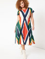 Printed Short Sleeve Midi Dress Olympic Stripe