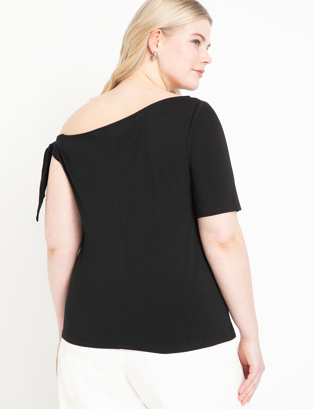 Tie Shoulder Elbow Sleeve Tee