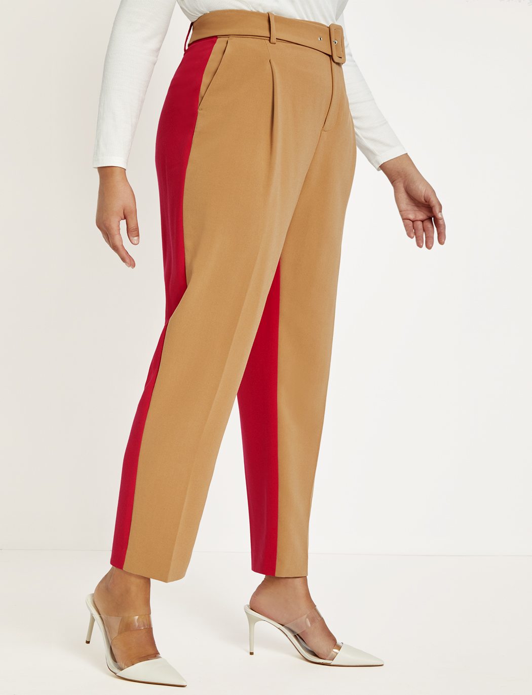 Belted Colorblock Pleat Front Pant