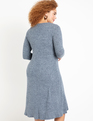 Long Sleeve Button Front Dress Heather Navy
