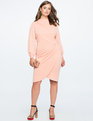 Drape Front Mock Neck Dress SMOKY CREAM