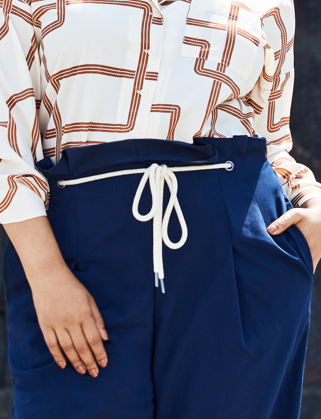 High Waisted Trouser with Rope Tie