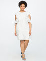 Cold Shoulder Eyelet Dress White
