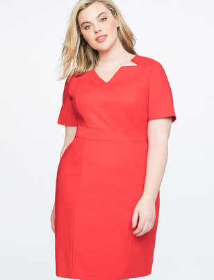 Sheath Dress with Cut Out Neckline