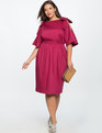 Bow Tie Cold Shoulder Dress RASPBERRY