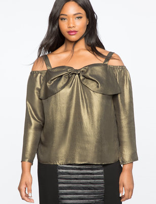 Metallic Off the Shoulder Bow Top