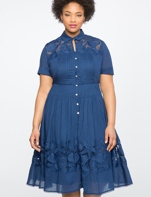 Teresa for ELOQUII Fit & Flare Shirtdress with Lace