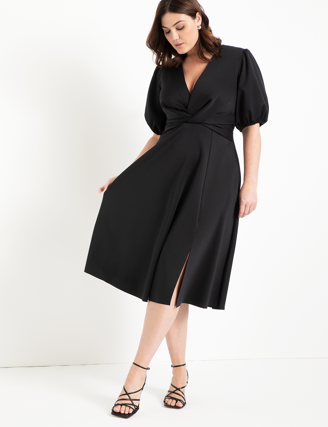 Puff Sleeve Fit and Flare Dress 2