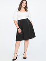 Stud Detail Circle Skirt Black