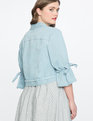 Tie Sleeve Denim Jacket Medium Wash