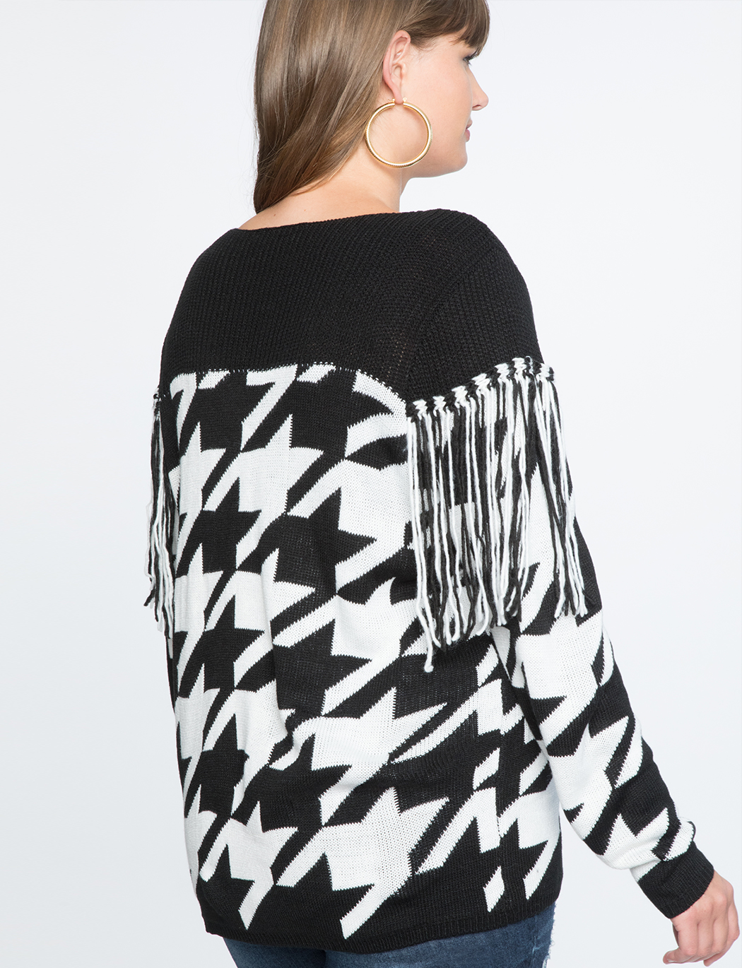 Houndstooth Fringe Sweater