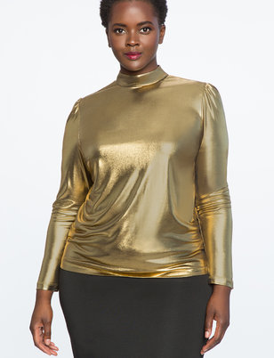 Metallic Mock Neck Tunic