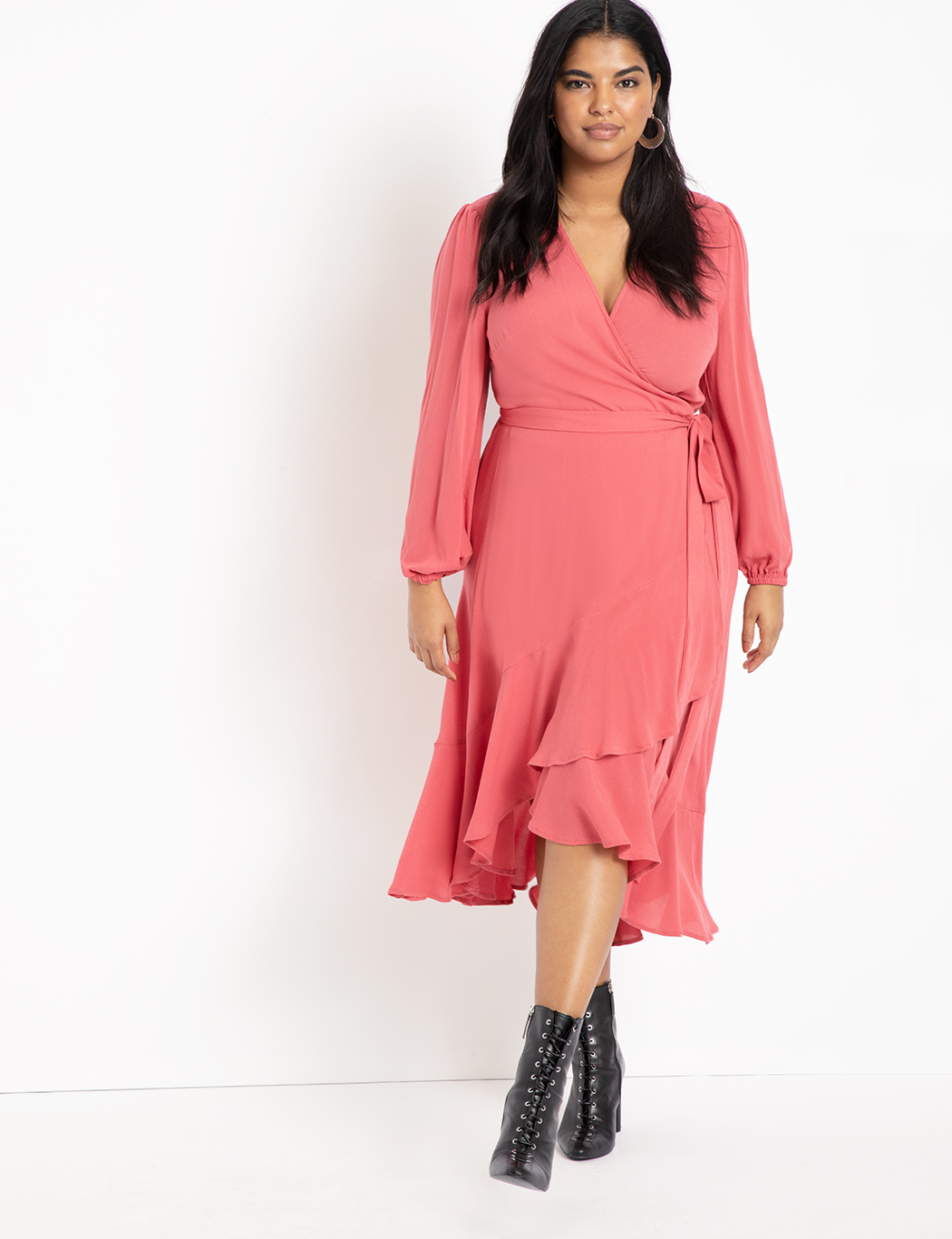 Soft Wrap Dress with Ruffle