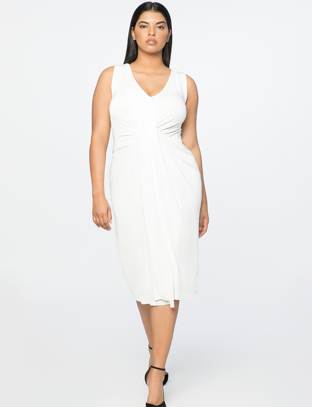 Jason Wu X ELOQUII Drape Front V-Neck Dress