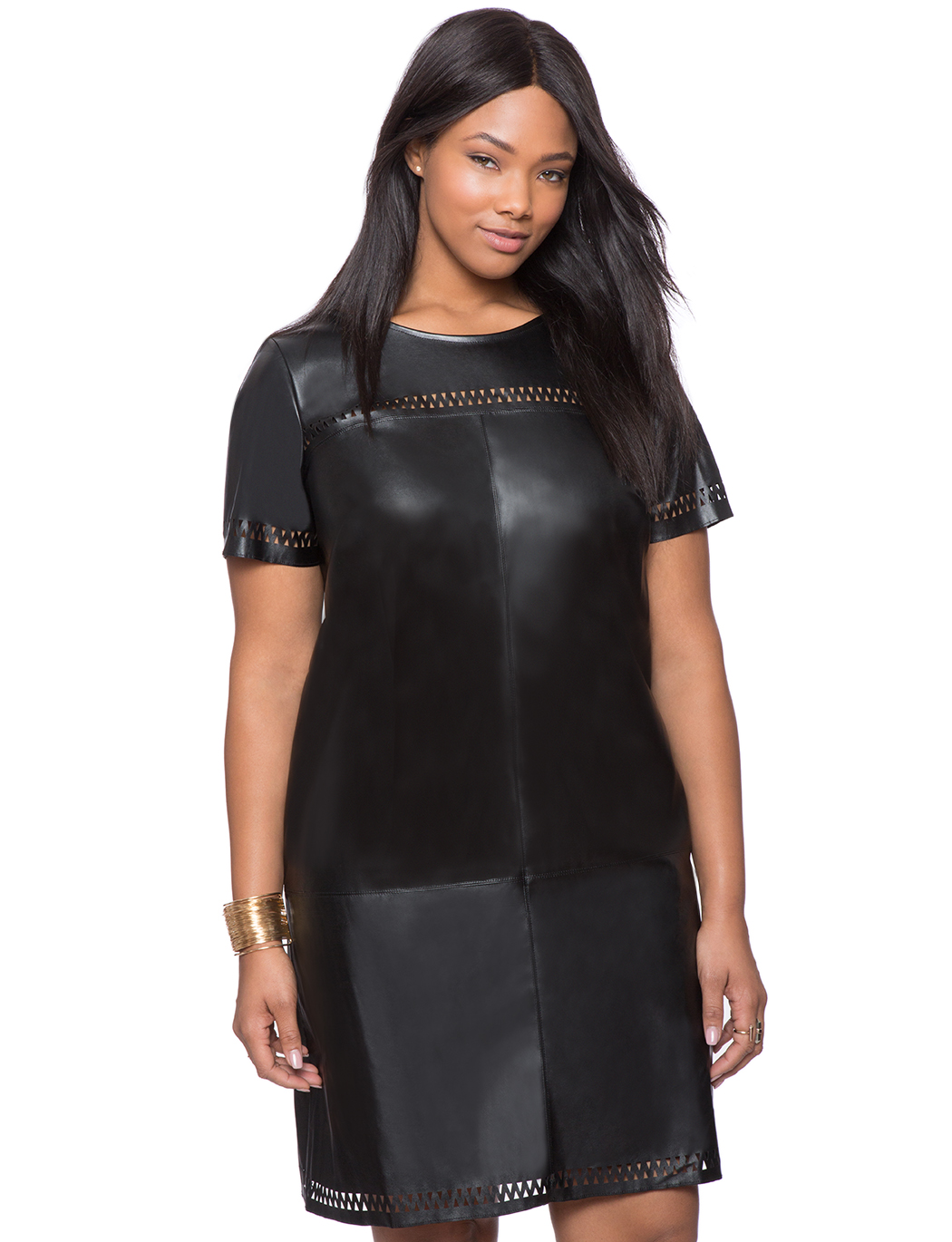 Studio Faux Leather Tee Shirt Dress | Women\'s Plus Size Dresses | ELOQUII