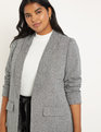 Relaxed Herringbone Blazer Black + White Herringbone
