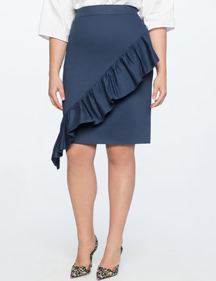 Pencil Skirt with Asymmetrical Ruffle