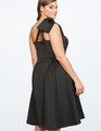 Bow One Shoulder Fit and Flare Dress BLACK