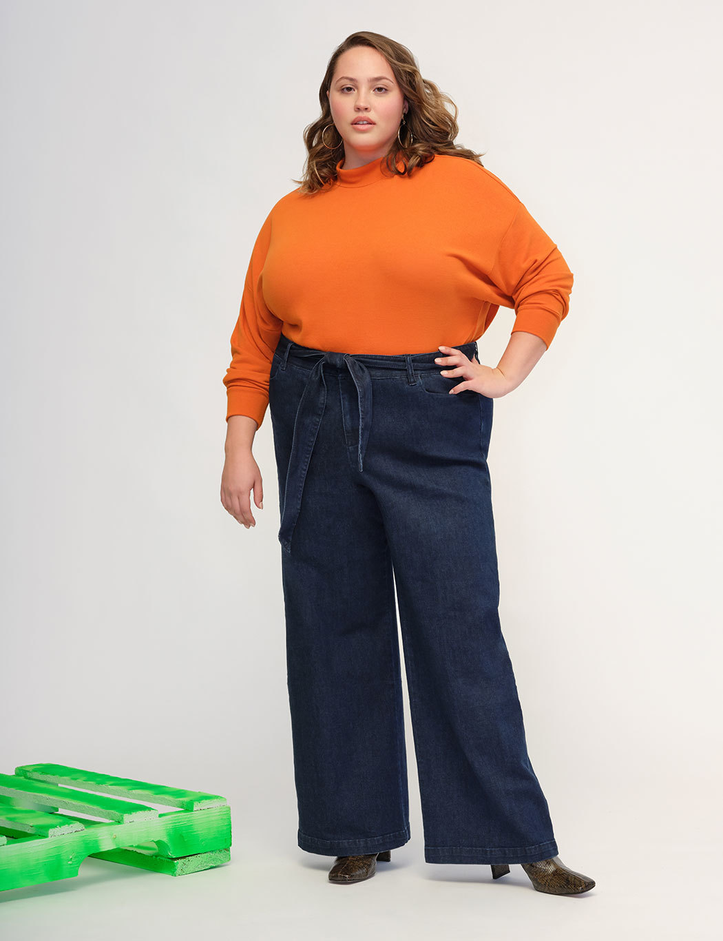 Gena Fit Belted High Rise Wide Leg Denim Pant