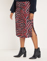 Printed Midi Column Skirt Dizzied Zebra