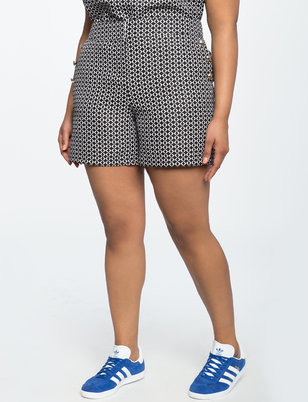 Textured Button Detail Shorts