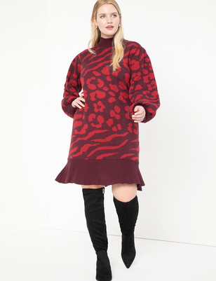 Jacquard Sweater Dress With Puff Sleeve