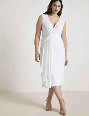 Jason Wu/ELOQUII Draped Asymmetric Midi Dress