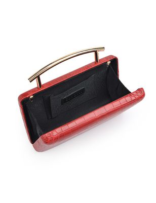 Textured Clutch with Metal Hardware Detail