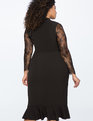 Lace Sleeve Ruffled Hem Dress BLACK