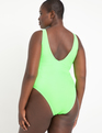 Tie Front High Cut Swimsuit Neon Green