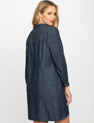 Tie Neck Chambray Easy Dress