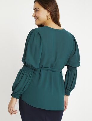Button Down Smocked Sleeve Top