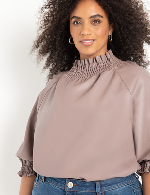 Smocked Neck Vegan Leather Top