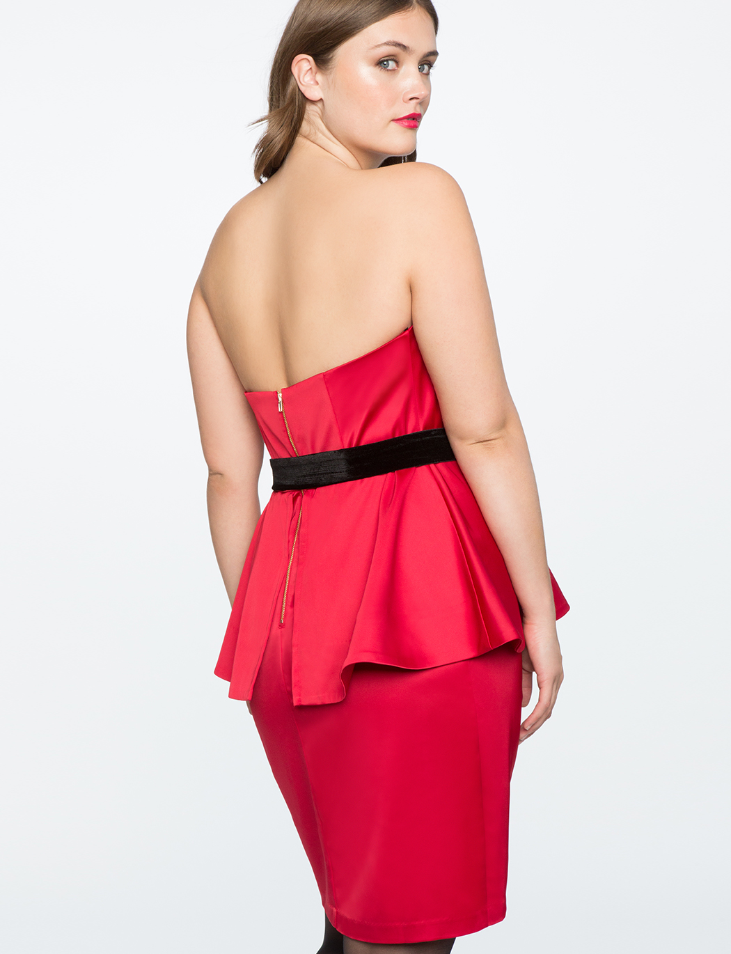 Draped Bodice Peplum Dress