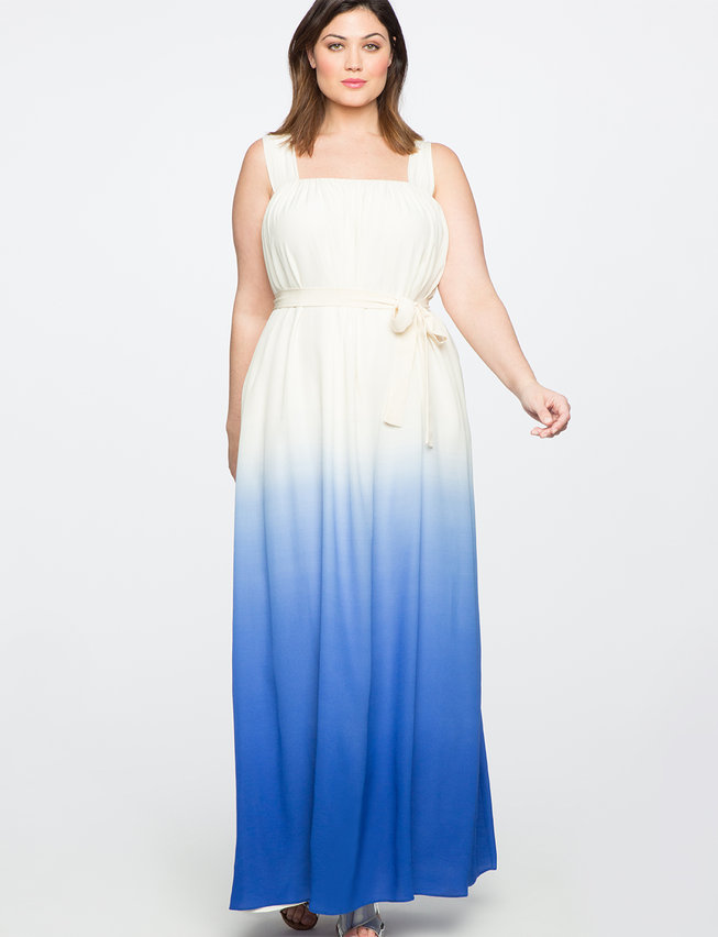 Teresa for ELOQUII Silk Tie Dye Maxi Dress