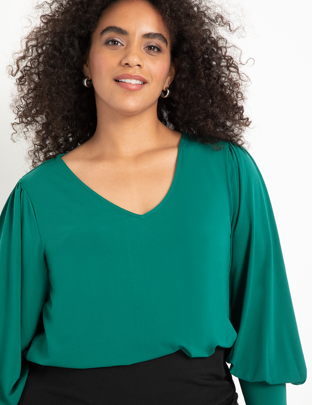 Dramatic Sleeve V-Neck Top