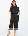 Studio Embroidered Hem Pant Totally Black