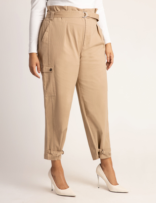 High Waisted Cargo Pant with Ankle Ties