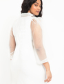 Organza Sleeve Tie Neck Dress White