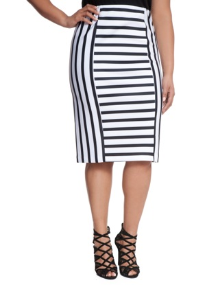 Black with white striped pencil skirt – Modern skirts blog for you