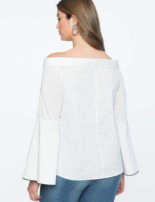 Off the Shoulder Collared Shirt